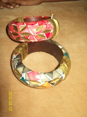 wooden bangles with oyster shell /bronze inlay